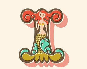 """SHOPWIDE SALE 8X10"""" mermaid letter I giclee print on fine art paper. Coral pink, olive green, turquoise blue, cream background."""