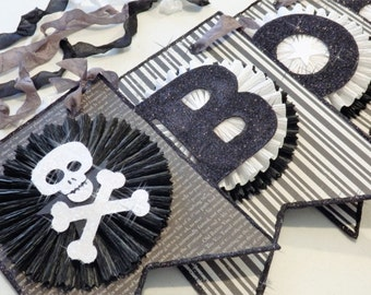 """Halloween Banner, """"BOO""""  in Black and White with Skull and Cross Bones, by Stacy Marie"""