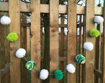 Green white lime Pom Pom garland - handmade 11 green and white bobble Pom Poms