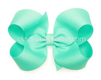 """Aqua Hair Bow, 4 inch Boutique Bow, 4"""" Aqua Bow, Basic Bow Baby Toddler Girl, Large Grosgrain Bow for Girls, Aquamarine Blue, Pale Turquoise"""