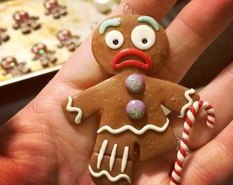 Gingerbread Man Christmas Ornament - Polymer Clay