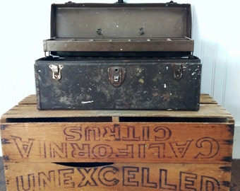 Vintage Metal Tool Box Industrial Decor