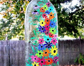 Wind Chime, Recycled Wine Bottle, Melted Bottle Wind Chime, Hand Painted Colorful Flowers
