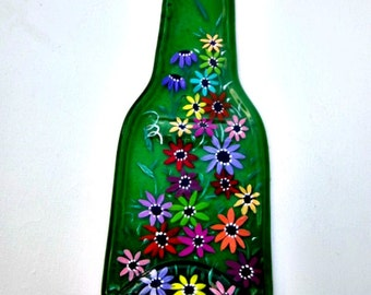Spoon Rest, Kitchen Trivet,  Melted Green Beer Bottle,  Hand Painted Colorful Flowers,  Candle Holder