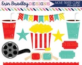 60% OFF SALE Movie Theater Clipart Graphics Digital Popcorn Food Beverage Drinks Stars Bunting and Border Clip Art INSTANT Download