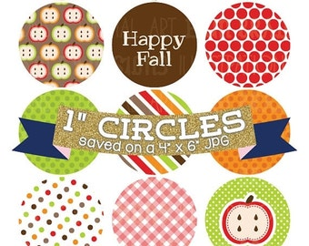 """50% OFF SALE Fall Bottlecap Images Digital Collage Sheet 4 x 6 Autumn Images with Apples Acorn Stripes Gingham Polka Dot Patterns 1"""" Circles"""