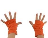 Toddler Arm Warmers in Pumpkin - Orange - Cotton Fingerless Gloves