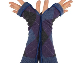 Arm Warmers in Purple Blue and Charcoal Argyle - Upcycled Felted Merino Wool - Long Fingerless Gloves - LAST PAIR