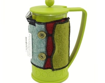 Bodum Cover in Upcycled Wool - French Press Coffee Cozy - Green Blue Purple Rust