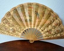 Antique Hand Held Fan, Hand Painted Delicate Paper Folding Fan, Pre-1901, Victorian Fan, Ladies Antique Fan,Bygone Era,Victorian Accessory