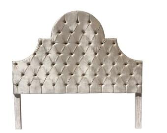 Off white Ivory Velvet King Size Headboard Tufted Upholstered Headboard Ivory King Size Velvet Headboard Tufted Headboard King Size Ivory