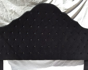 Black Velvet Extra Tall King Size Tufted Headboard with a Row of Rhinestones  Upholstered Black Tufted Headboard King Extra Tall Crystals