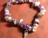 Mindfulness Stone Medicine Bracelet, Goddess & Amethyst.  (Meditation, intention, blessing, fertility, priestess, yoga)