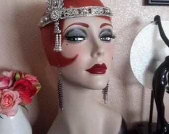 "Vintage Style Art Deco Flapper 19"" Mannequin Head/ Hat Stand"