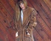30% off ... Brown Suede Fringe Tie Waist Coat Jacket - Vintage 80s - MEDIUM M