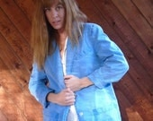 30% off ... Blue Chambray Oversized Menswear Blazer Jacket - Vintage 90s - MEDIUM M