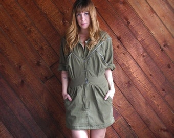 extra 25% off SALE ... Army Green Mini Shirt Dress with Zippers - Vintage 80s - SMALL S 2 4