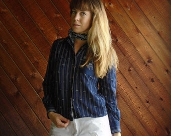extra 25% off SALE ... 70s Equestrian Horse Shoe Print Button Down Blouse Shirt - XS