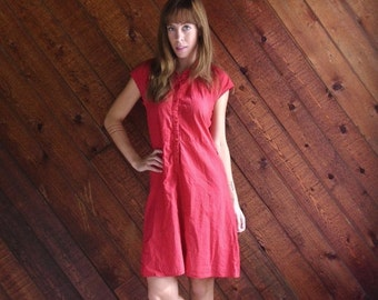 30% off ... Red Polka Dot Short Sleeve Mini Circle Dress - Vintage 50s - XS S