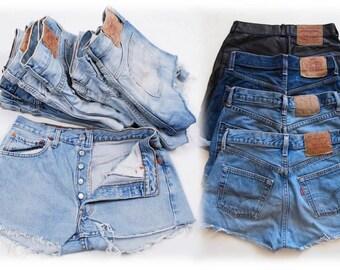 Levi Shorts 501 LEVI'S Denim Cutoff Shorts Tattered Blue 1970s Distressed Highwaist Levi Jean Shorts Cut high or Low Cut