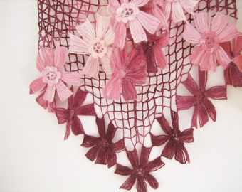Lacy Shawl, scarf, wrap, variegated, deep pink shades, fancy,hand crocheted, sooooooo beautiful, new