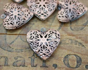 Antiqued Copper Heart Filigree Locket (1)