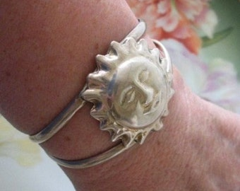 Vintage TAXCO MEXICO Sterling Silver SUN Face Cuff Bracelet 24.7 Grams Estate Jewelry