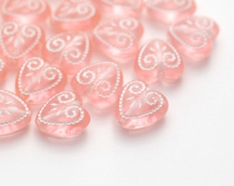 Carved Pink White Acrylic Heart Beads Etched 11mm (30)
