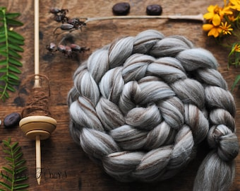 Merino Natural Undyed Wool Roving Combed Top Spinning or Felting Fiber Humbug Blended Top - 4 oz