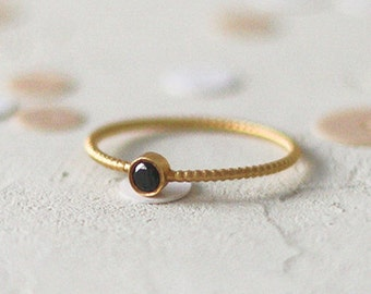 14k Gold Diamond Dotted Band Ring, Gold Bead Ring, Stacking Ring, Black Diamond Band, Diamond Wedding Ring, Anniversary Ring, Stackable