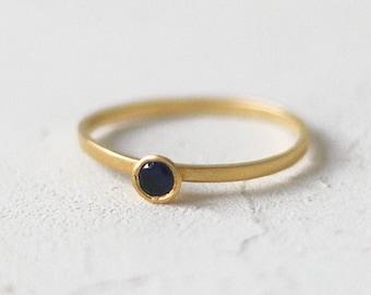 14k Gold Diamond Cone Ring, Stacking Ring, Diamond Wedding Band, Black Diamond Wedding Ring, Anniversary Ring, Stackable Ring
