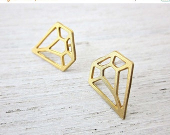 Sale 20% OFF Diamond Post Earrings in Gold