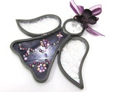 Purple and Irridized Wing Angel with Swarovski Crystal Flowers Stained Glass Ornament or Suncatcher - Ready to Ship