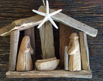 2 ORIGINAL OBX driftwood nativity ornaments starfish nativity Ready to ship ornament baby Jesus mangers decoration BeachHouseDreamsHome