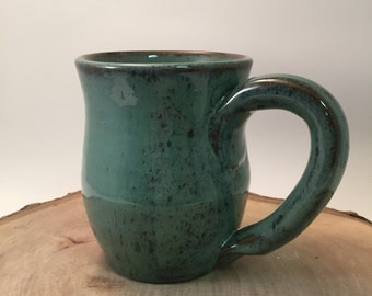 Handmade Ceramic Mug - Celadon Green Brown