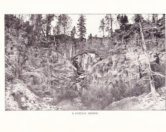1900 Landscape Photograph - Natural Bridge Yellowstone National Park - Antique Vintage Nature Art Photo for Framing 100 Years Old