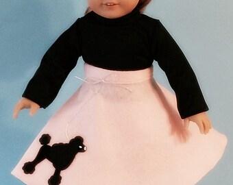 Pink Felt Poodle Skirt with Black Poodle Set for 18 Inch Dolls - 5 Piece Set