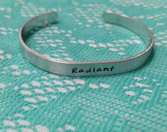 Hand Stamped Aluminum Stacking Cuff