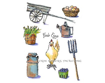 Fresh Eggs farmhouse kitchen 8x10 art print