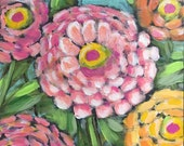 Zinnias original painting