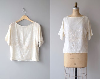 Light Dimension top | silk beaded blouse | white beaded slouchy tunic