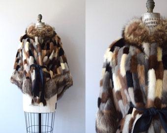 Mixed Mink cape | vintage 1960s fur cape | 60s fur poncho