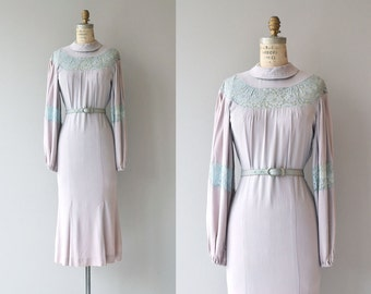 Blythe lace & silk crepe dress | vintage 1930s dress | crepe 30s dress