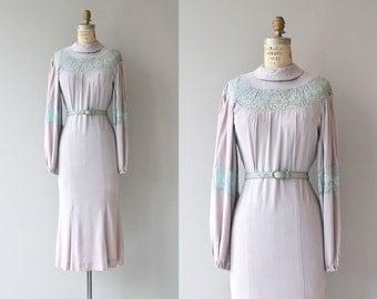 Blythe lace & silk crepe dress | vintage 1930s dress | crepe 30s dress