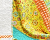 """baby quilt- """"It's gonna be a bright, bright, sunshiny day!"""" in  yellow, orange,  blue, green and white READY TO SHIP"""