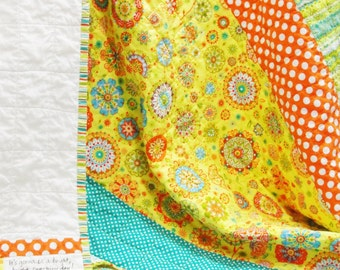 "baby quilt- ""It's gonna be a bright, bright, sunshiny day!"" in  yellow, orange,  blue, green and white READY TO SHIP"