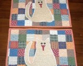 Quilted Placemats, Country Kitty Cat, Dining Table Décor, Set of Two, 12x16 Inches, Handmade, Primitive Rustic, Farmhouse Folksy
