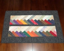 Braided Table Topper, Quilted Table Runner, Scarappy,  21x29 inches, Earth Tone Colors, Sale Priced, Machine Quilted, Dining Table Decor