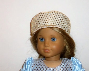 Gold Sequin Hat, 18 Inch Doll, Sparkling, Newsboy Cap, American Made, Girl Doll Clothes, 15 Inch Baby Doll, Accessories