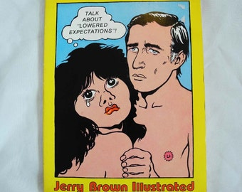 Vintage book, Jerry Brown Illustrated, political cartoons, paperback 1970s, Beauxarts, San Francisco